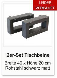 Tischgestell f�r einen Couchtisch aus Rohstahl 20x40 cm schwarz matt