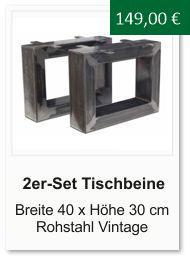 Tischgestell f�r einen Couchtisch aus Rohstahl 30x40 cm Vintage