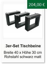 Tischgestell f�r einen Couchtisch aus Rohstahl 30x40 cm schwarz matt lackiert