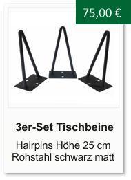 Tischgestell f�r einen Couchtisch aus Rohstahl Hairpins 25 cm schwarz