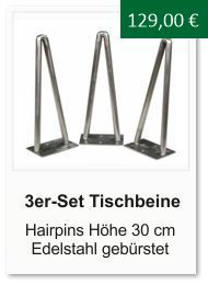 Tischgestell f�r einen Couchtisch aus Edelstahl Hairpins 30 cm