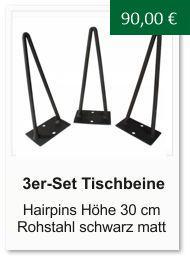 Tischgestell f�r einen Couchtisch aus Rohstahl Hairpins 30 cm schwarz