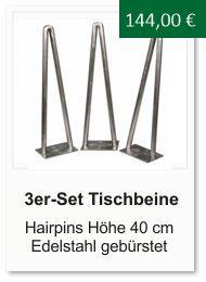 Tischgestell f�r einen Couchtisch aus Edelstahl Hairpins 40 cm
