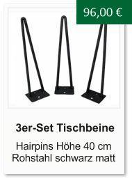 Tischgestell f�r einen Couchtisch aus Rohstahl Hairpins 40 cm schwarz
