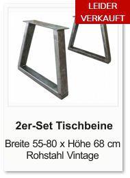 Tischgestell f�r einen Esstisch aus Rohstahl Trapez