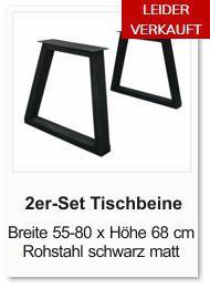 Tischgestell f�r einen Esstisch aus Rohstahl Trapez schawrz matt