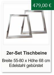Tischgestell f�r einen Esstisch aus Edelstahl Trapez