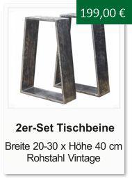 Tischgestell f�r einen Couchtisch aus Rohstahl Trapezform