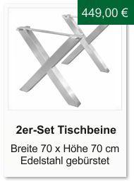 Tischgestell f�r einen Esstisch aus Edelstahl Kreuzform