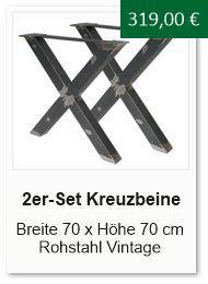 Tischgestell f�r einen Esstisch aus Rohstahl Kreuzform