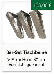 Tischgestell f�r einen Couchtisch aus Edelstahl V-Form