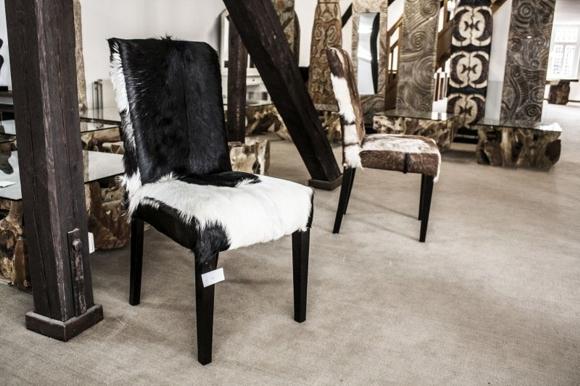 Der Tischonkel Stühle Hocker und Sessel mit echtem Fell