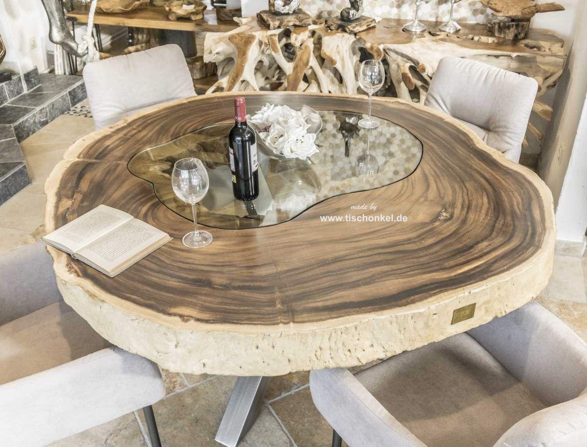 DER TISCHONKEL :: Esstisch aus einem runden Baumstamm