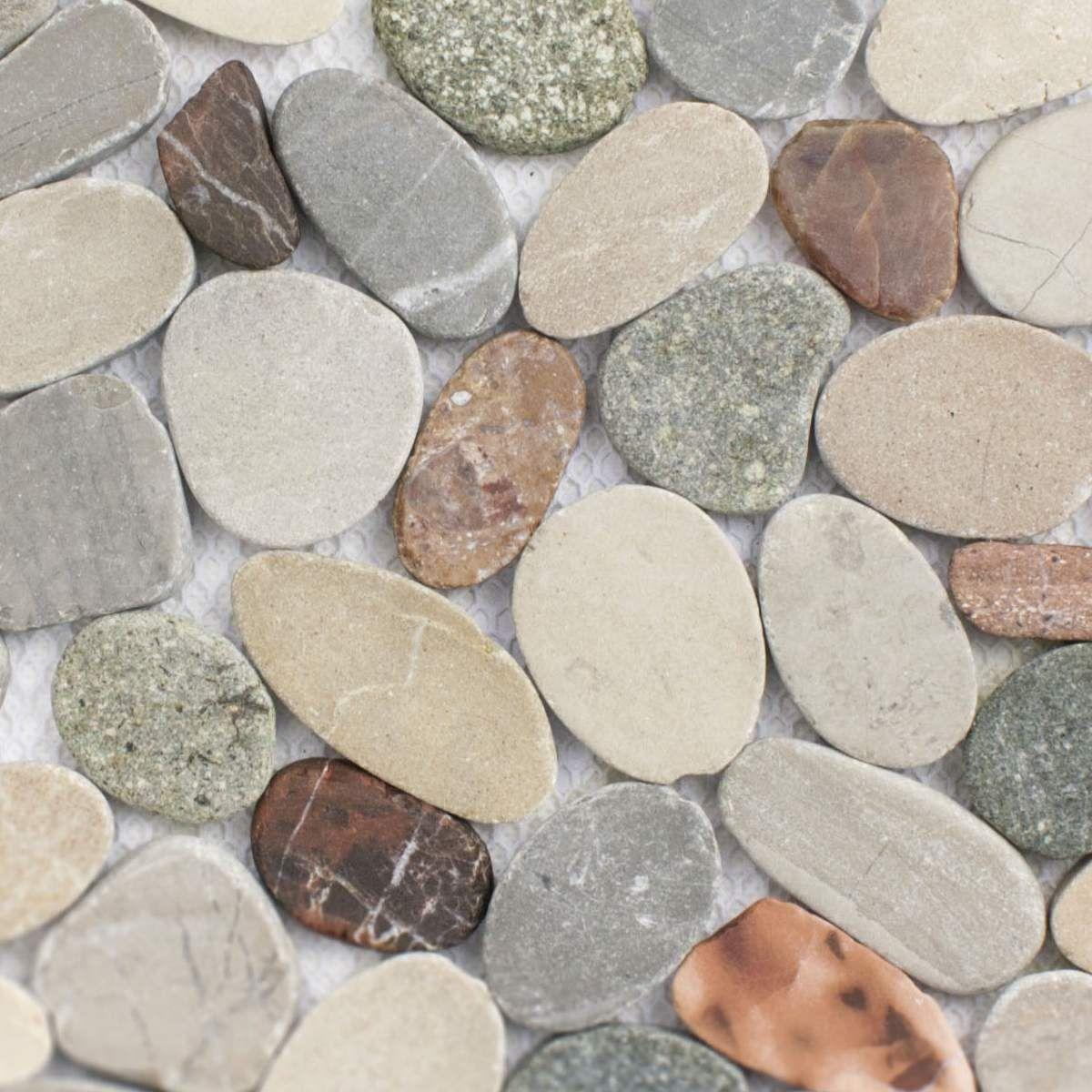 Flusskiesel Mosaik Flach Herbstmischung